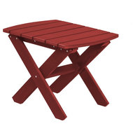 Wildridge Classic Recycled Plastic Rectangular Side Table, Cardinal Red