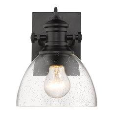 Golden Hines 1-LT Bath Vanity Light 3118-BA1 BLK-SD, Matte Black