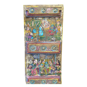 Mogul Interior - Consigned Doors Hindu God Hand-Painted Barn Door - Interior Doors