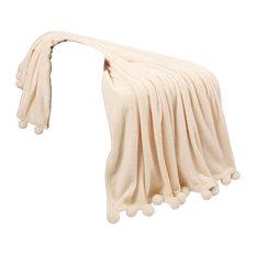 "Pom Pom Flannel Fleece Throw Blanket, Antique White, 50"" X 60"""