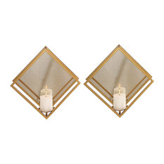 2-Piece Minimalist Gold Mirrored Wall Candle Sconce Set