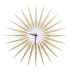RF Atomic Clock, Maple White/Red, Midcentury Modern Wood & Acrylic Wall Clock