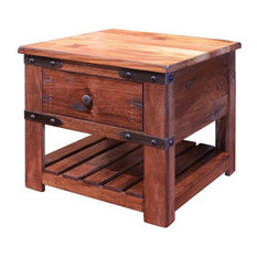 Granville Rustic Solid Wood End Tabe Side Table With 1 Drawer