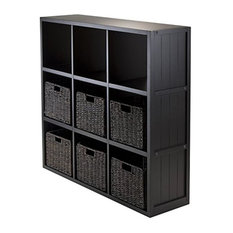 7-Piece, Panel Shelf 3x3 Cube With 6 Foldable Baskets
