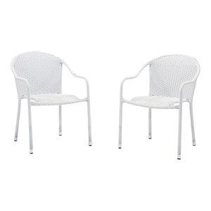 Strange Crosley Palm Harbor Wicker Patio Stackable Chair In Green Creativecarmelina Interior Chair Design Creativecarmelinacom