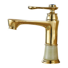 Fontna Showers - Chieti Posh Gold Antique Gem Single Handle Bathroom Faucet - Bathroom Sink Faucets