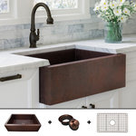 """Fossil Blu - Ultra Thick 12-Gauge Luxury 33"""" Dark Copper Farmhouse Sink, Incl. Grid and Drain - 12-GAUGE COPPER: With over 50 pounds of 99% pure copper, this 12-gauge sink is the thickest & strongest 33"""" copper sink available on the market."""