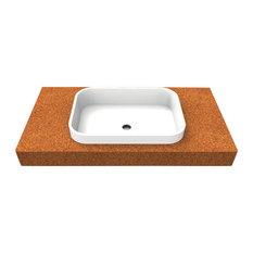 Natural Corian Bathroom Sink With Cork Countertop, Rectangular, 50 cm