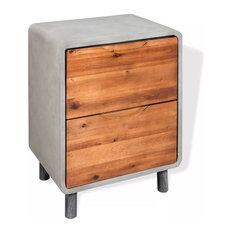 VidaXL Solid Acacia Wood Nightstand Concrete With 2 Drawers 15.7-inchx11.8-inchx19.7-inch