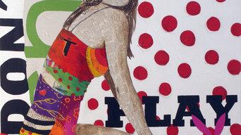 DON´T PLAY ME,100x100 cm, collage y acrílico sobre lienzo