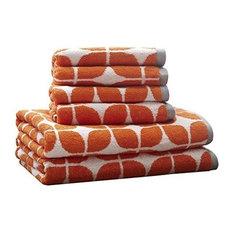 "Intelligent Design Lita 6-Piece Cotton Jacquard Towel Set, 28"", Orange"