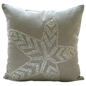 Starfish 45x45 Cotton Linen Ecru Cushion Covers, Starfish Pearls