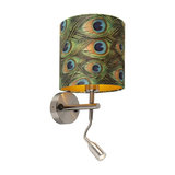 Modern Wall Lamp Steel with Shade 20/20/20 Velvet Peacock with Gold