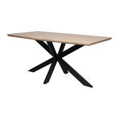"Ravenna Wood 63"" Dining Table With Geometric Metal Base, Maple"