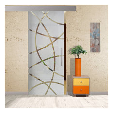 """Frameless Sliding Glass Barn Door /  Semi Private Frosted Designs, 28""""x81"""" Inche"""