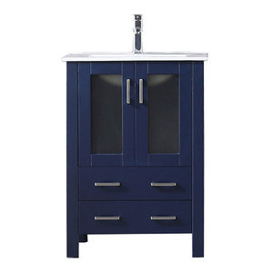 """Single Vanity With Integrated Top, White Square Sink, Navy Blue, 24"""""""