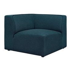 Polyester Upholstered Corner Sofa, Blue