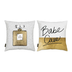 """Oliver Gal 2-Piece """"Gold and White Glam"""" 18""""x18"""" Pillow Set"""