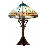 NICHOLAS Tiffany-Style Mission Stained Glass Table Lamp, 25""
