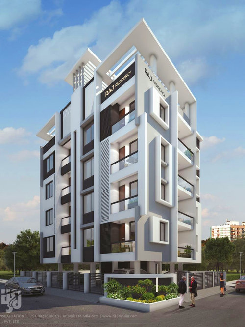 3d high rise building exterior elevation day rendering by for Modern high rise building design