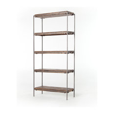 "82"" H Alfonsina Bookshelf Bookcase Mango Wood Iron Weathered Hickory Gunmetal"