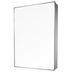 Mirrored Bathroom Shaver Cabinet With LED Double Top Lights, Without Speakers