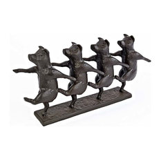 Dancing Pig Chorus Line Cast-Iron Statue