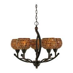 "Bow 5 Light Chand Black Copper Finish W/6"" Copper Mosaic Glass (275-BC-402)"