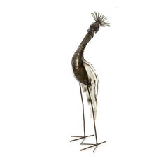 Swahili African Modern White Recycled Metal Crowned Crane Sculpture , Small