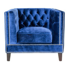 Pasargad Home - Pasargad Victoria Collecion Tufted Velvet Armchair, Navy - Armchairs and Accent Chairs