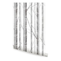 "Birch Tree Wallpaper, Peel and Stick, Gray, 24""x108"""