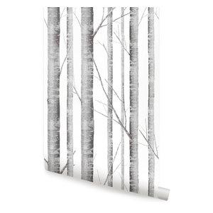 "Birch Tree Wallpaper, Peel and Stick, Gray, 24""x108"""