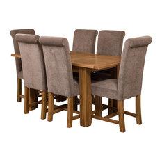 Hampton Oak Extending Dining Table, 6 Washington Chairs, Grey Velvet Effect