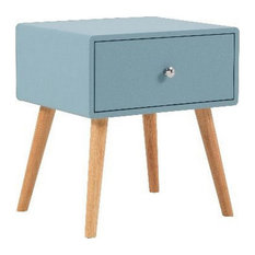 1 Drawer Wooden Nightstand With Round Tapered Legs Blue And Brown