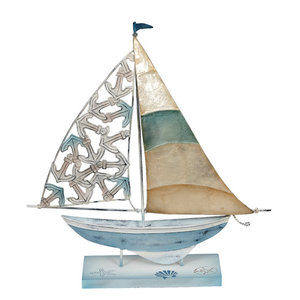 Metal and Capiz Shell Sailboat With Anchor Motif