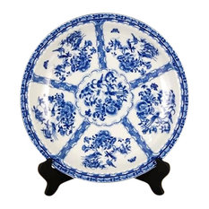 """Blue and White Bird and Floral Plate 18"""""""
