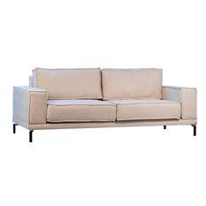 DOVETAIL ASHLEY Sofa Black Cream Iron Linen Upholstery Uph