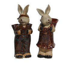 Pair Handmade Ceramic Rabbit Carry Basket On Back Statue