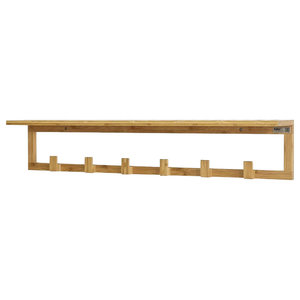 Natural Bamboo Wall Mounted Coat Rack With 6-Hook and Top Shelf