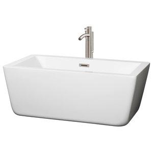 "Laura Freestanding White Bathtub, Brushed Nickel, 59"", Faucet: Brushed Nickel"