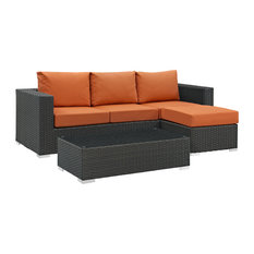 Sojourn 3-Piece Outdoor Wicker Rattan Sunbrella Sectional Set, Canvas Tuscan