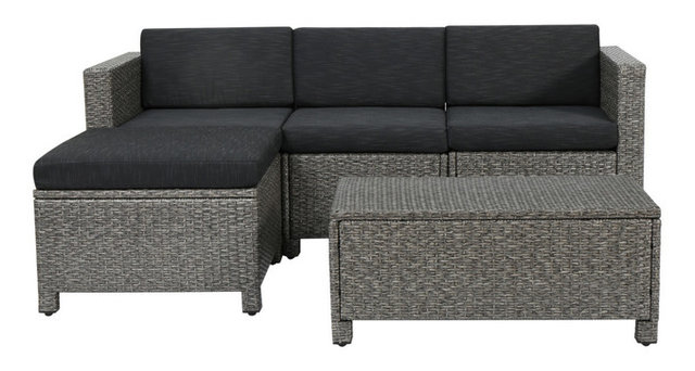 Lorita Outdoor Gray Wicker Sectional Sofa With Black Cushions 5