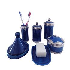 Luxury Blue/Silver Bathroom Vanity Accessories Moroccan Pottery, 6-Pieces Set