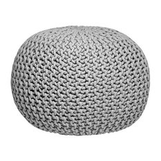 Knitted Pouffe, Light Grey, Small