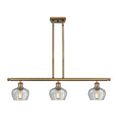 Fenton 3-Light Island-Light, Brushed Brass, Clear