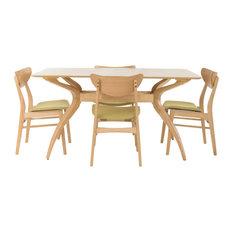 GDF Studio 5-Piece Amundsen Natural Oak Finish Curved Leg Rectangular Dining Set