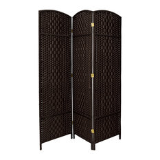 6' Tall Diamond Weave Fiber Room Divider, Black, 3 Panel