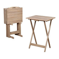 Linon Home Decor Products Rubberwood Tray Table Set Gray Acacia Tv Trays