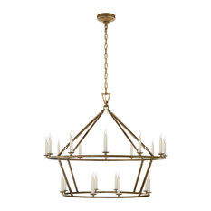 E. F. Chapman Darlana Large Two-Tiered Ring Chandelier Golded Iron
