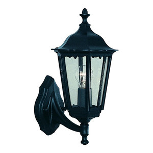 Alex Traditional Black Outdoor Up Over Wall Light IP44